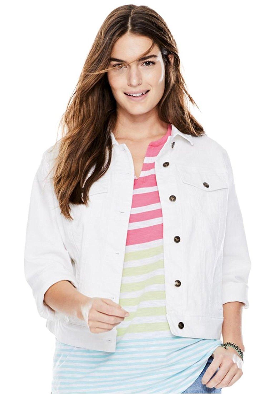 6601ff8200a Get Quotations · Women s Plus Size Cropped Stretch Denim Jacket