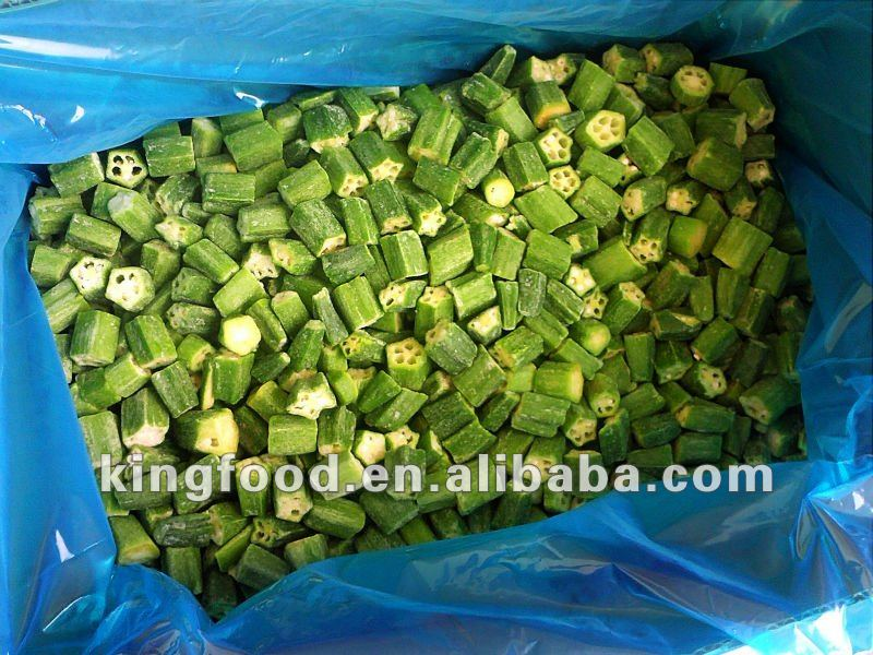 Frozen organic okra in fresh okra