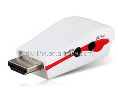1080p Hdmi Male To Vga Female Output Video Converter Adapter With Av Audio Cable For PC Apple Xbox360 Hdtv