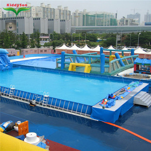 Hot selling blue rectangular metal frame canvas swimming pool ,swimming pool for kids and adults
