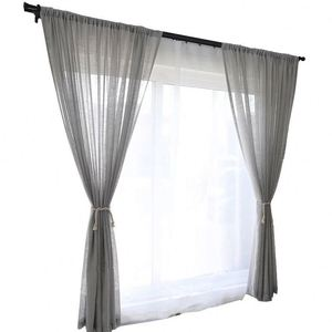 New Nordic Style Net Red Stitching Linen Curtains Full Shade Fabric Sheer Voile Organza For Curtain Fabric