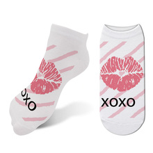 New 3D Printed 가와이이 Women's Lips 숏 Socks Valentine Sexy Cartoon Woman Kiss Ankle Socks