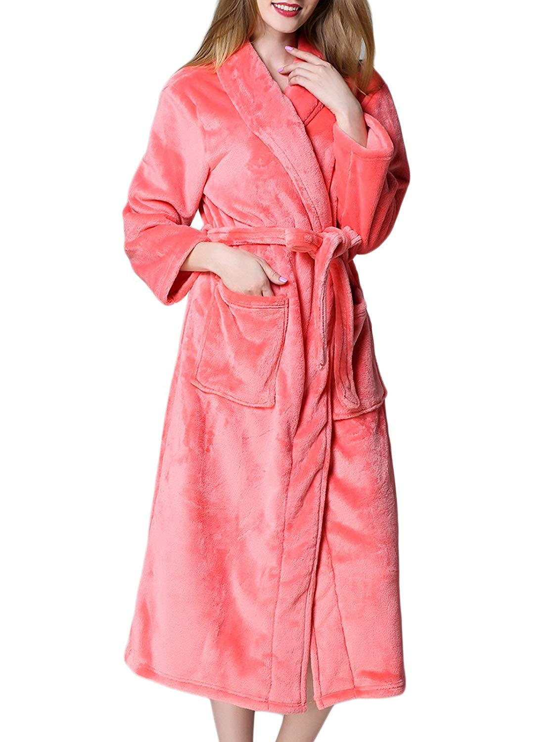 Get Quotations · HENCY Women s Plush Soft Warm Fleece Bathrobe Robe Long  Terry Cotton Bath Robe - Toweling with dfaa6aaa3