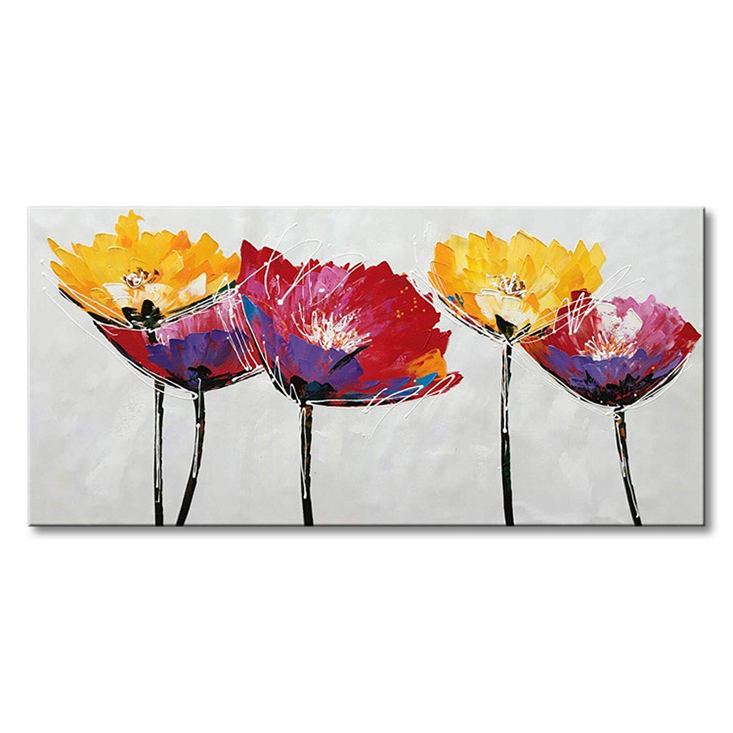 "Seekland Art Hand Painted Modern Flower Oil Painting on Canvas Abstract Wall Art Colorful Floral Decor Hanging Contemporary Artwork Stretched Picture (Framed 48"" W x 24"" H)"