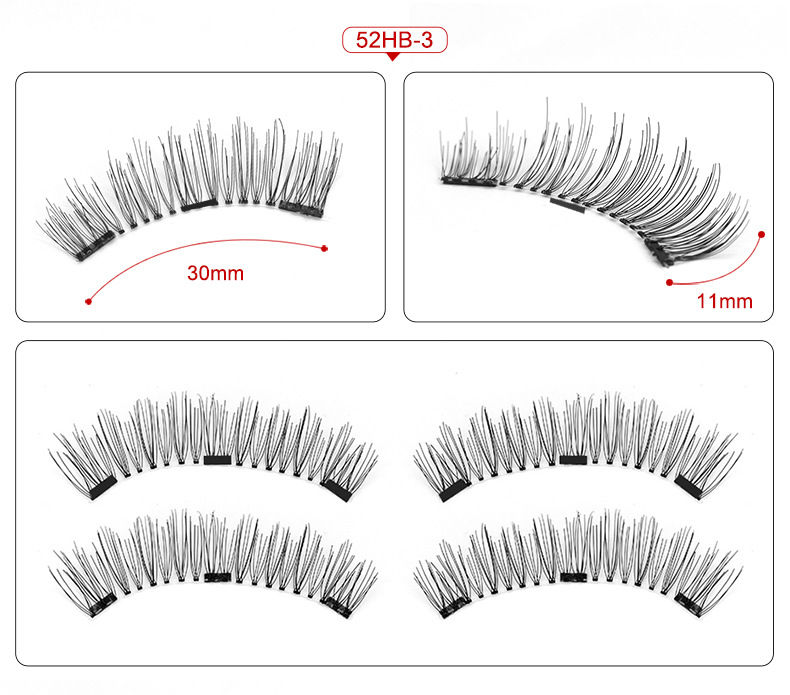 Magnetic eyelashes with 3 magnets magnetic lashes natural false eyelashes magnet lashes with eyelashes applicator