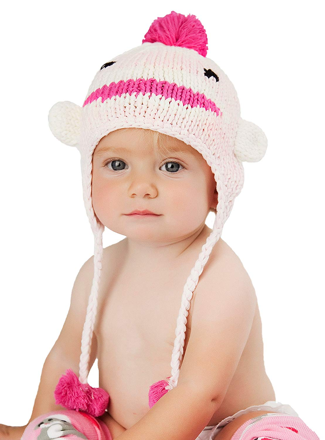 265b67c8ba9 Get Quotations · Huggalugs Baby and Toddlers Girls Pink Sock Monkey Beanie  Hat