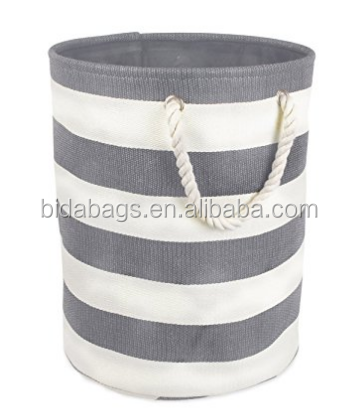 Collapsible Laundry Hamper or Basket For Bedroom, Nursery, Dorm, or Closet (Small Round) - Gray Rugby Rugby Stripe
