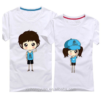 228c626b7d9f Cute Logo White Summer Couples Crew Neck T-shirts In Cotton Made ...