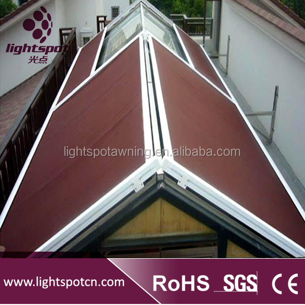 horizontal canopy rain protection rolling sliding roof awning