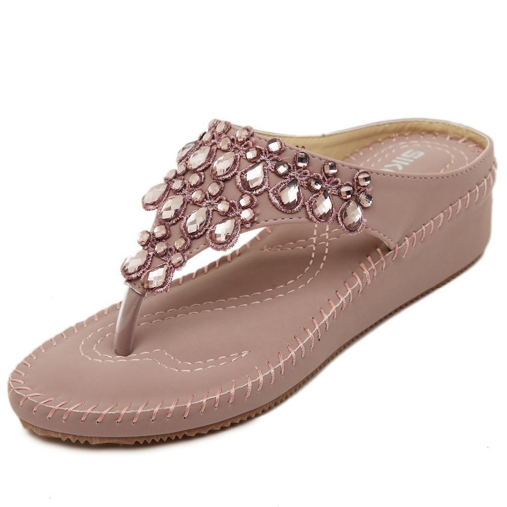2370690441443d Get Quotations · ENMAYER Flip Flops New Pink Apricot Summer Flat Sandals  size 35-39 Women Bohemian Shoes