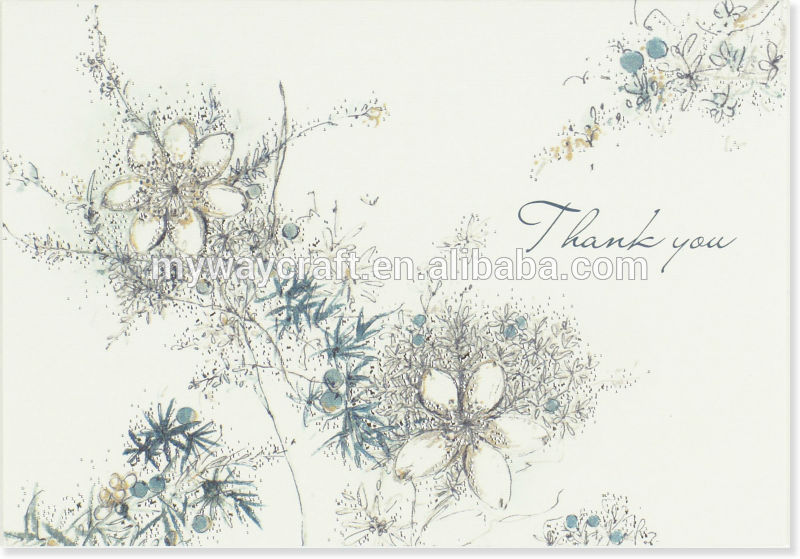 Custom Made Watercolor Flowers Thank You Invitation Card