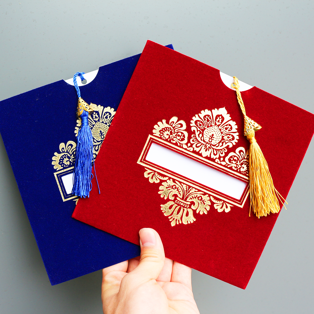 Luxury Pocketfold Invitation Wedding Royal Blue Velvet Gold Foil Invitation <strong>Card</strong> with Envelope