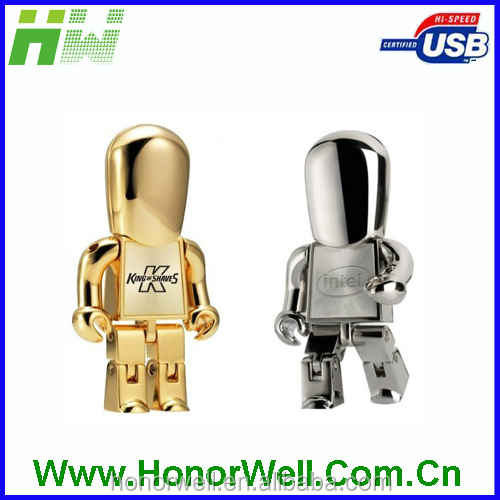 Hot selling branded metal stick robot shaped usb flash pen drive
