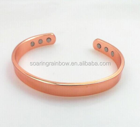 100% real copper bracelet health with 6 magnets rose gold plated