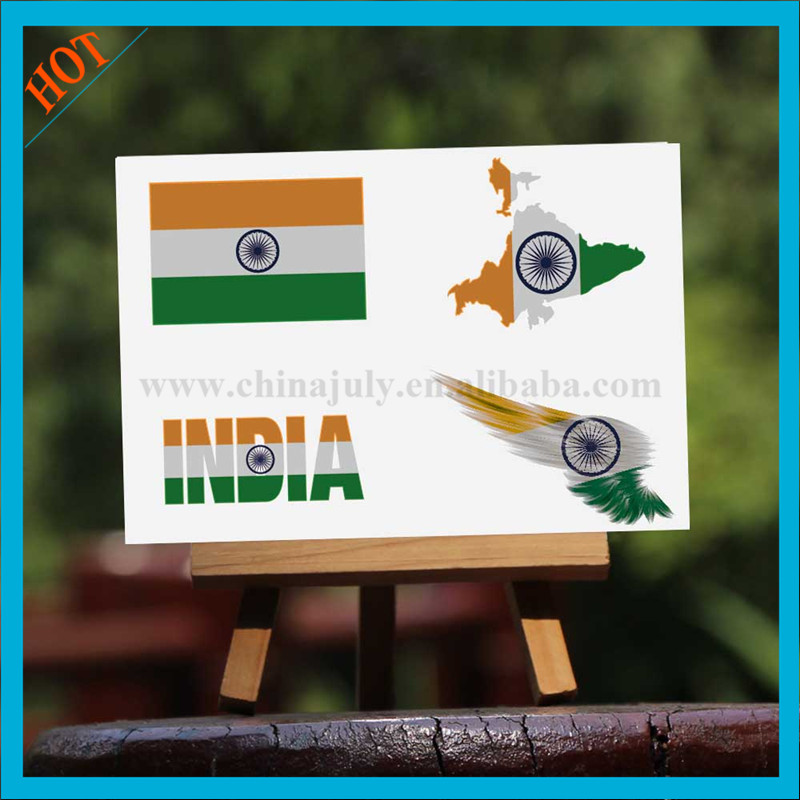 body waterproof ink face temporary india flag tattoo