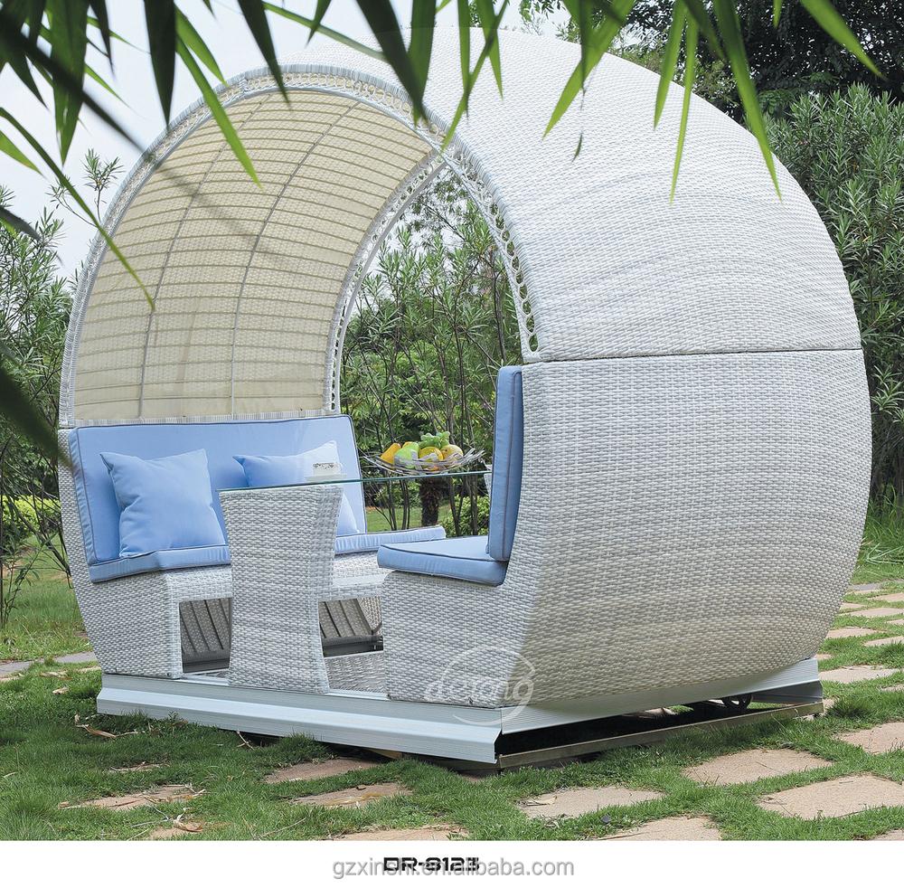 T Four Seats Garden Rattan Swing