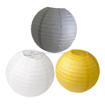 8 inch Pack of 6 Chinese Paper Lanterns Lamp Shade White Grey Yellow Mixed Colors for Wedding Party Decoration Baby Shower