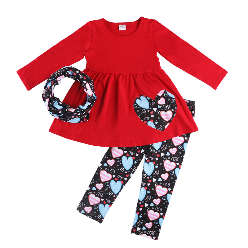2019 Valentine's outfit girls clothing solid color long sleeve top heart print leggings headband 3pc set