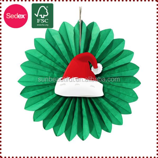 decoracion navidad colgante de pared patrn de abanico de papel con campana