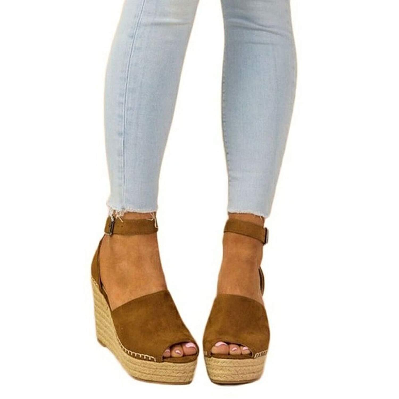 YING LAN Womens Summer Espadrille Wedge Sandals Fashion Strap Buckle Suede Platform Shoes