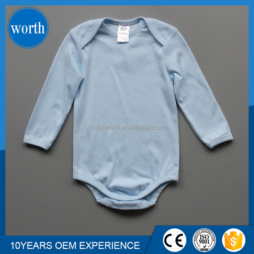 100% cotton infant clothes newborn long sleeves plain baby romper