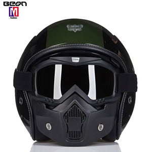 BEON Motorcycle helmet open face decal custom retro dirt bicycle cross bike helmet with goggles mask