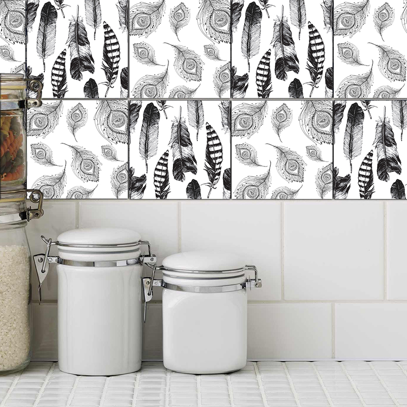 TS011 Feather Oil Water Proof Kitchen Adhesive Wall Decorative Tile Stickers