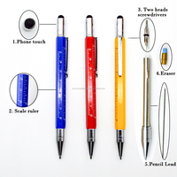 5 in 1 multi tool pen metal mechanical pencil touch pen with screwdrivers