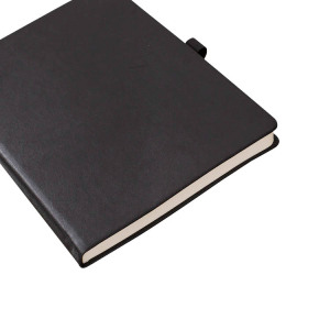 Hot selling classic PU material black hardcover notebook cheap household event planner notebook