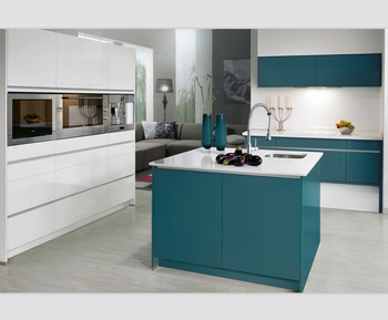 Blue Lacquer High Gloss Finish Kitchen Cabinet