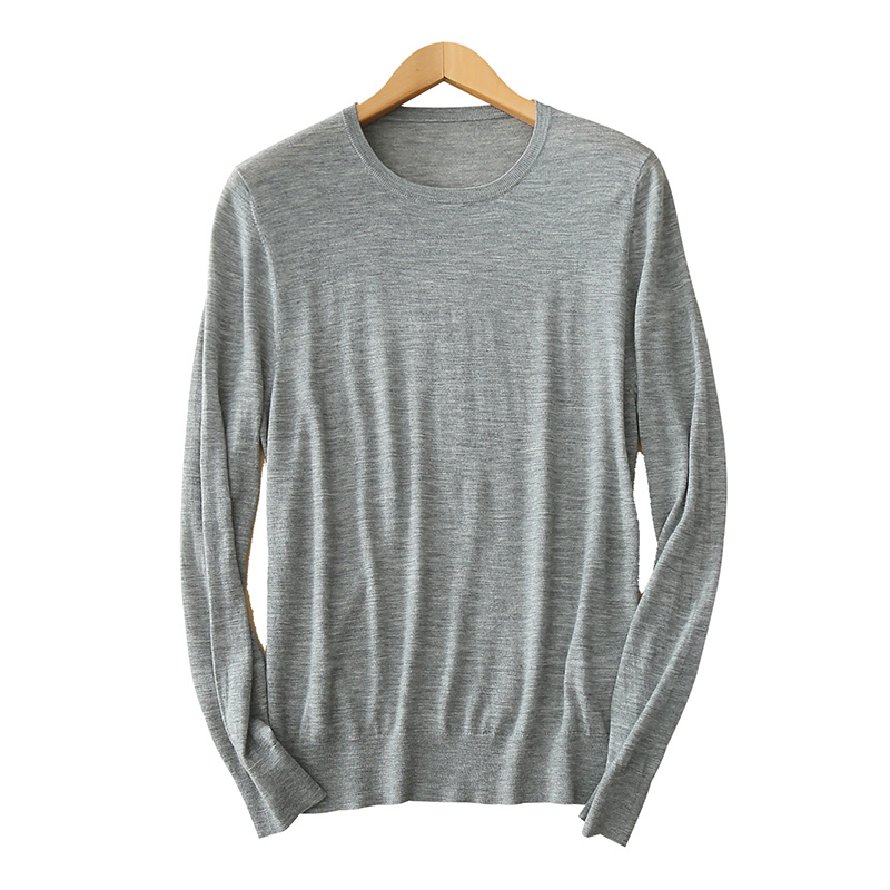 Men's pullover cashmere sweater O neck long sleeves 12GG cable knitting solid color casual sweaters
