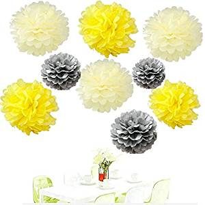Cheap yellow pom pom flowers find yellow pom pom flowers deals on get quotations since18pcs of 8 10 14 3 colors mixed yellow grey ivory mightylinksfo