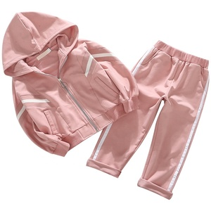 Autumn teen girl cotton sport outwear suit kids baby girl long sleeve hoodies coat pant clothing clothes set boutique wholesale