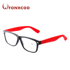 FONHCOO Cheap Ladies Red Temple Plastic Reading Glasses
