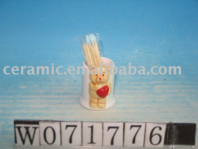 Ceramic Toothpick Stand with Bear Design