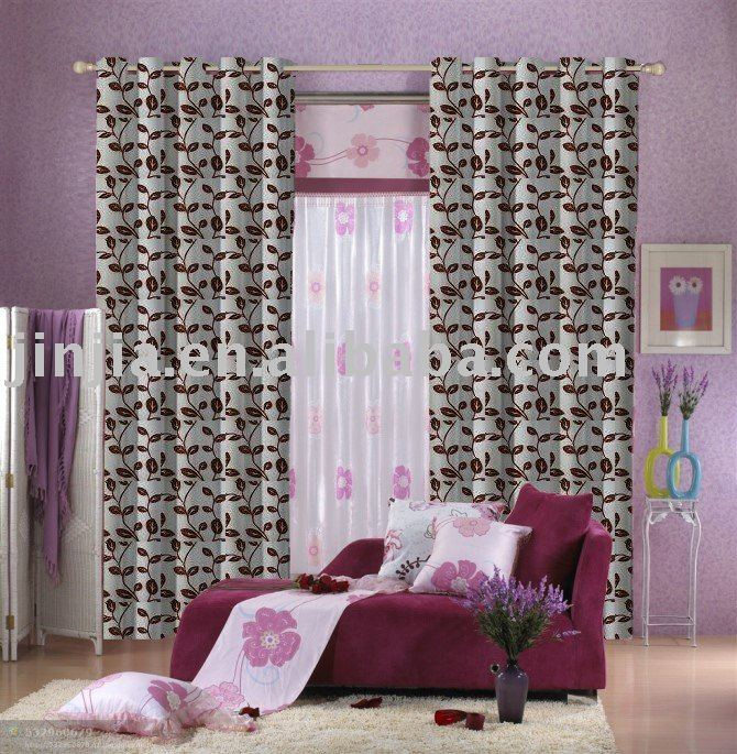Embroidery satin double layer curtain