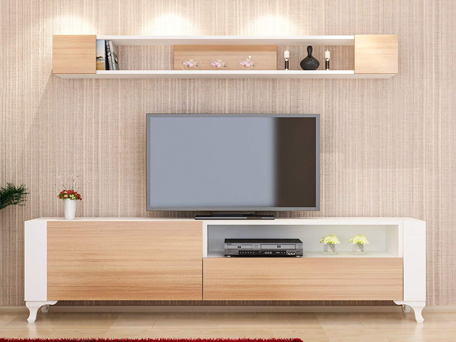 Get Quotations Lamodahome Tv Stand With Floating Shelf White And Light Wooden Unit Multi Functional