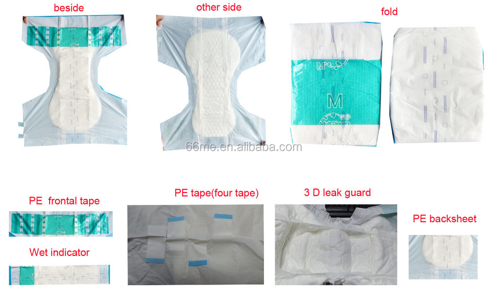 Adult printed PE back sheet High absorption dry soft disposable adult diaper for old MAN
