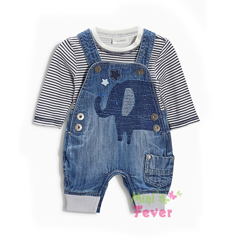2015 spring autumn new arrival baby boys clothing sets denim suspenders long-sleeve T-shirt twinset infant 5pcs/lot wholesale