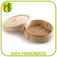 Light portable hand made 10 inch bamboo steamer for food