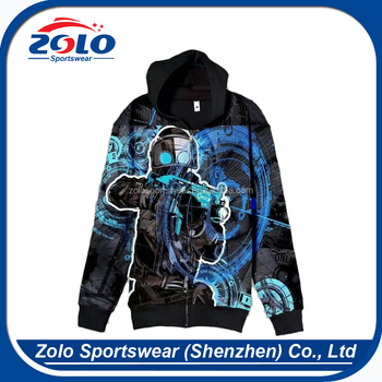 Custom Made Cheap Sublimation Printed Pullover Zipper Black Hoodies for men