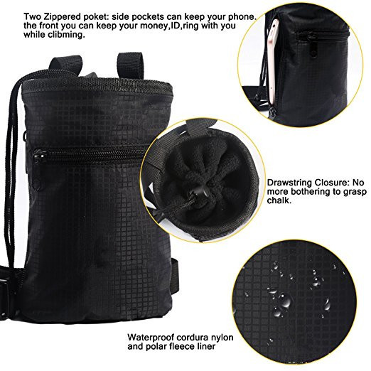 Waterproof Belt Drawstring Rock Climbing Zippered Pockets Chalk Bag