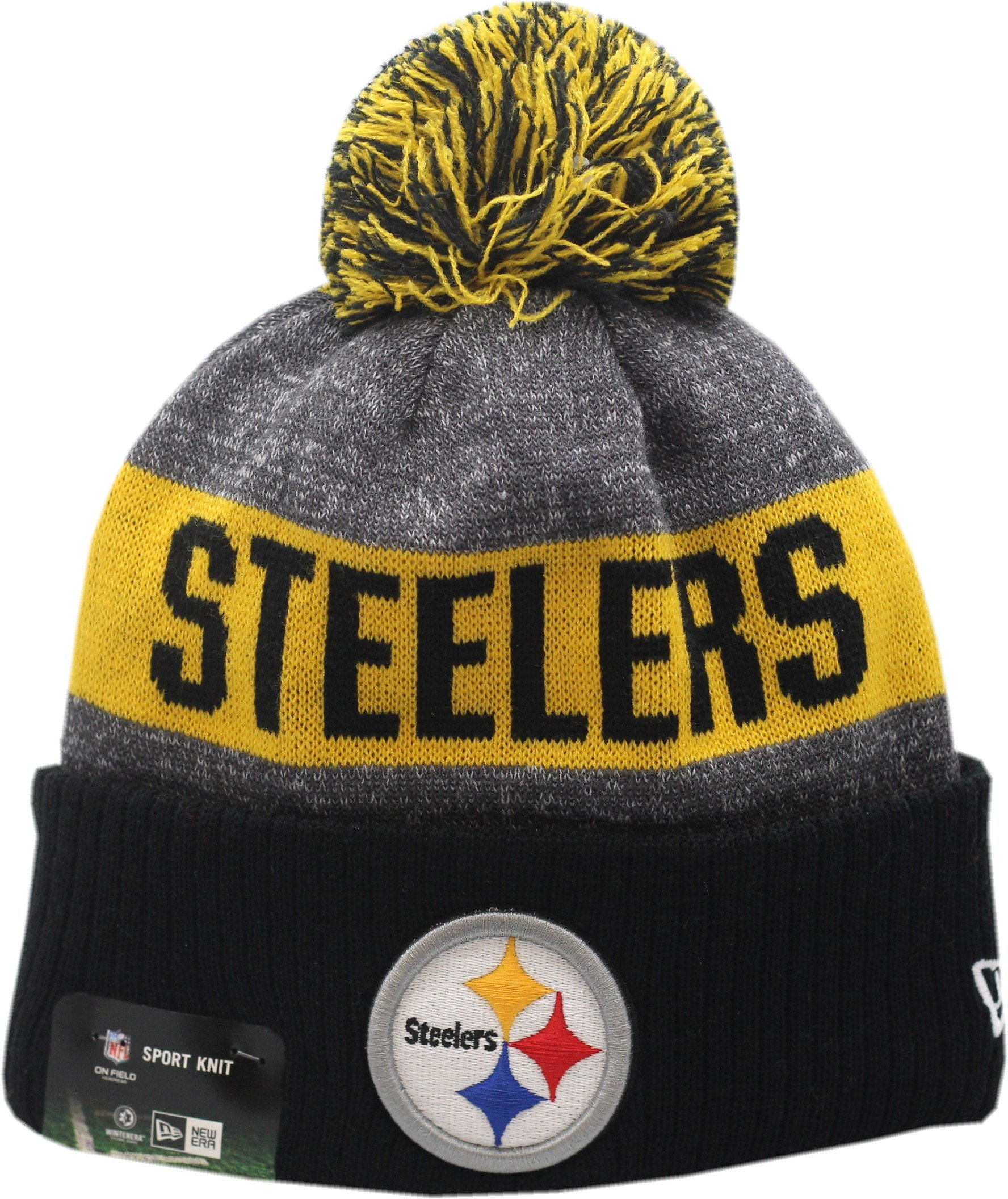 Buy Pittsburgh Steelers 2016 Sport Pom Knit Hat On-Field Logo Block ... b227e1f70e8