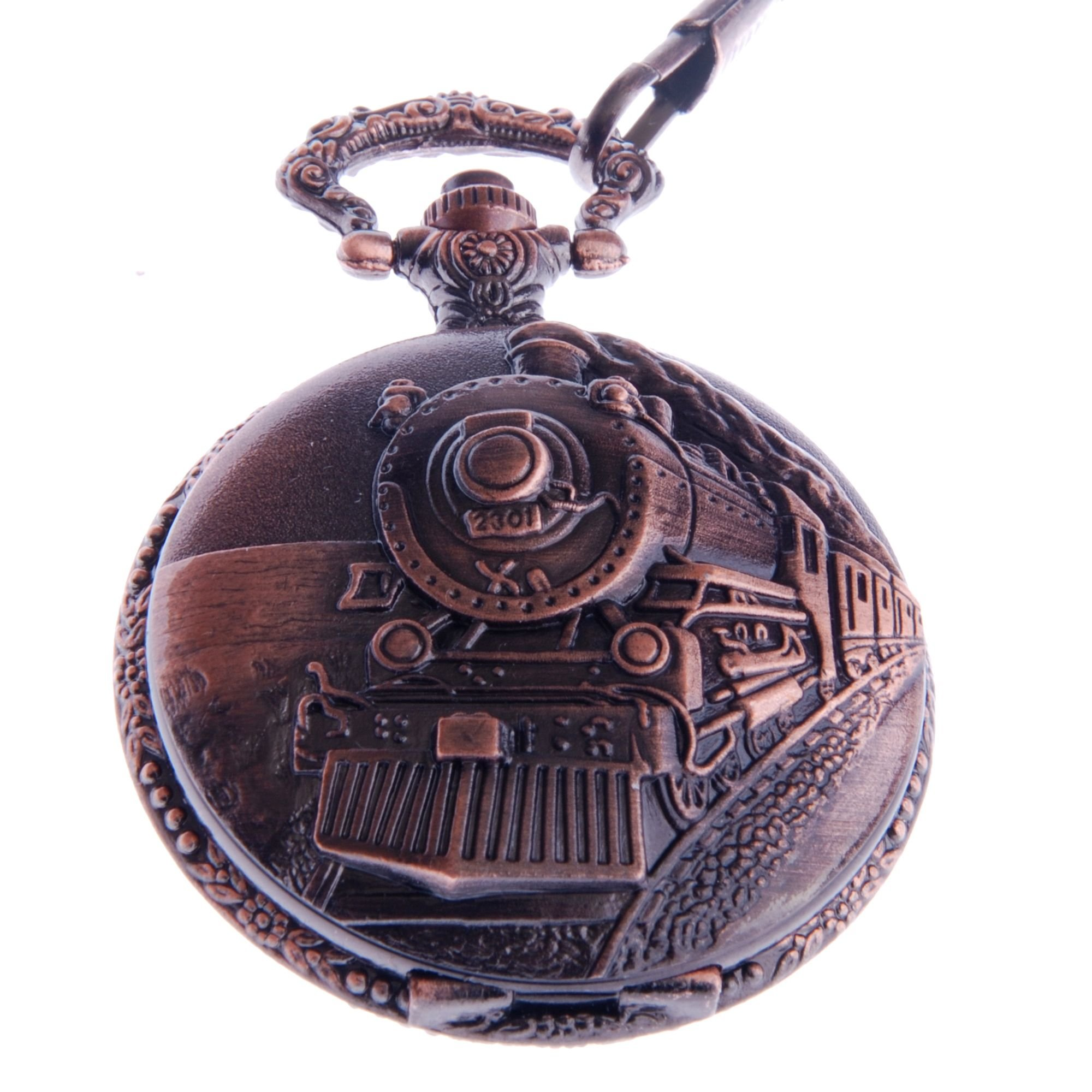 ShoppeWatch Pocket Watch with Chain Railroad Train Full Hunter Locomotive Steampunk Design PW-31