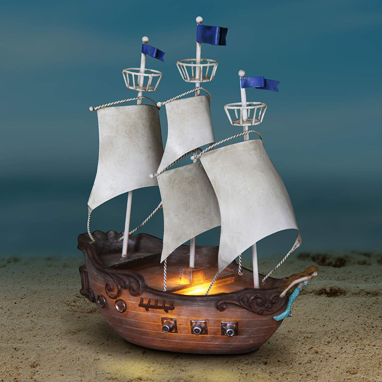 "Exhart Neverland Jolly Roger Pirate Ship, Resin, Garden Statue/Figurine, Solar Powered, 7"" L x 12"" W x 14"" H"