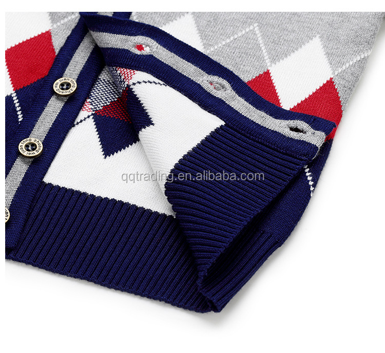 5da1f79b0ccf 100% Cotton V Neck Fall Winter Baby Argyle Style Kids Boys Big ...