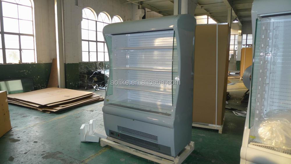 Supermarket open air curtain vegetable display cooler