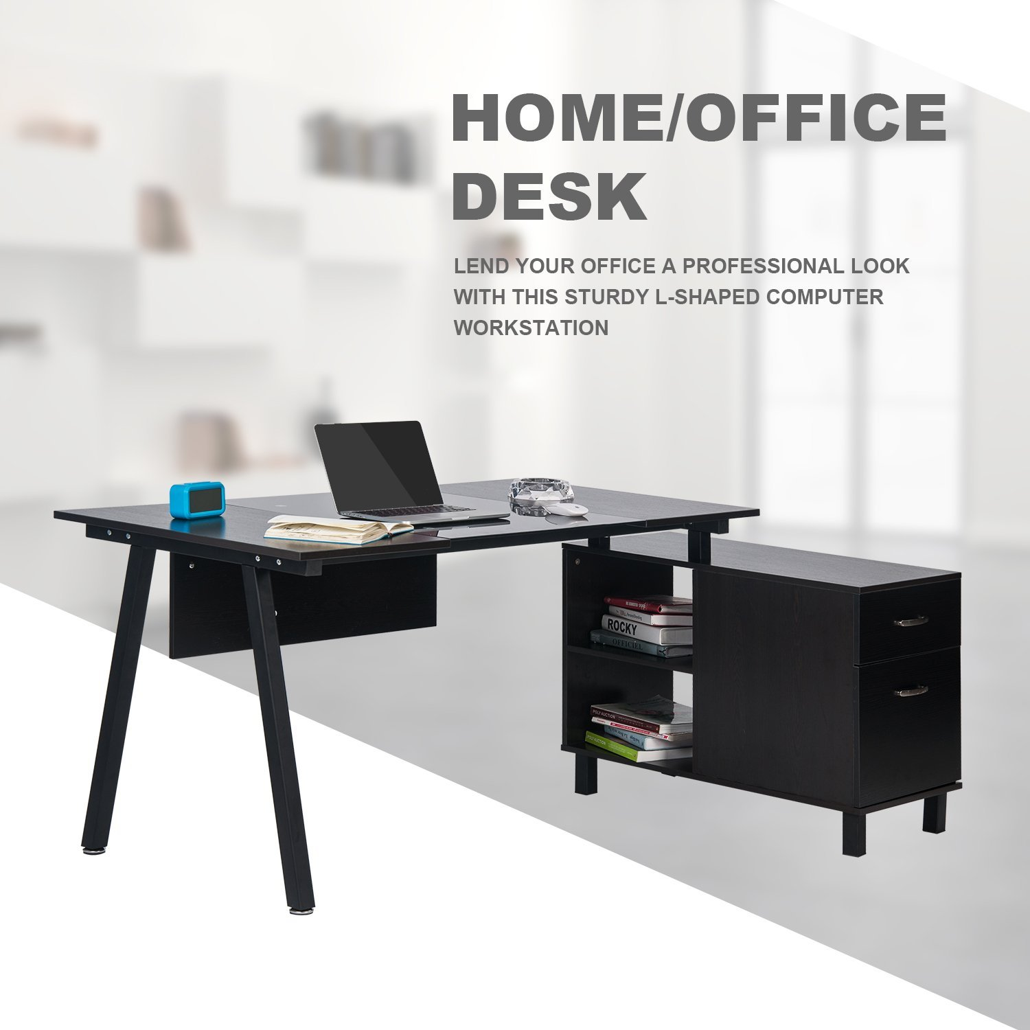 Merax L-Shaped Desk with Storage Cabinet Computer Desk Stylish Computer Desk Home and Office Desk Table (Black (Glass))