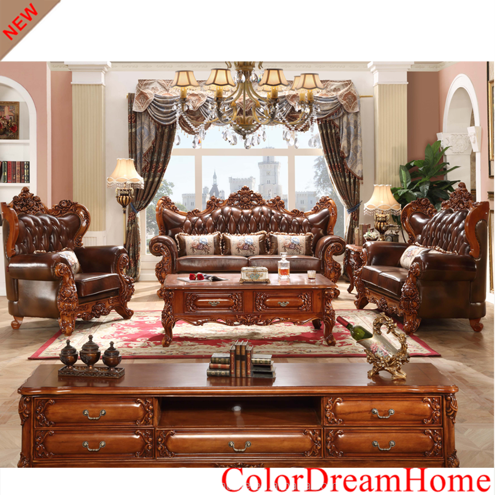 2017 New Design European Royal Wooden Sofa Set Pictures Furniture In