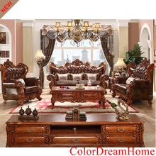 2017 New design European Royal wooden sofa set pictures furniture in solid wood carving